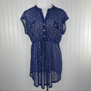 Siren Lily Maternity Navy Heart Sheer Tunic Top L